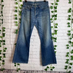 DIESEL INDUSTRY Button Fly Bootcut Denim Jeans